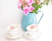 Set of Four Vintage Tea Cups and Saucers - Floral Blue and Pink Art Deco - Made in England - Wedgwood