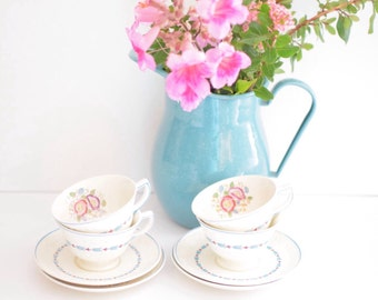 Set of Four Vintage Tea Cups and Saucers - Floral Blue and Pink Art Deco  - Made in England - Wedgwood (SALE - was 44.00)