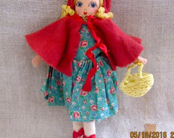 Little Red Riding Hood Vintage Adorable  Cloth Doll - Vintage Doll