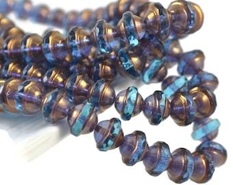 25 Czech Saturn - Blue Capri and Brass - 8x10mm - Czech Glass UFO Shape Beads