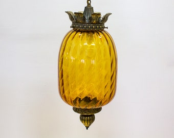 Vintage Pendant Light / Swag Lamp, Amber Glass Hanging Lighting