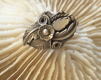 Sterling Silver Ring with Abalone, Feather and Flower, size  5.75 - 6
