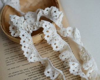 """30 meter 2cm 0.78"""" wide beige cotton ruffled stretch elastic tapes lace trim ribbon 43gf free ship"""