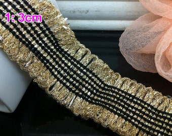 10 yard 1.8-3cm wide blue/ivory/gold tassels fringes tapes lace trim ribbon werb free ship