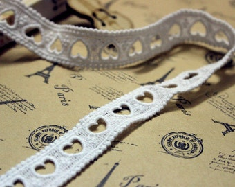 """14 yard 2cm 0.78"""" wide ivory heart cotton tapes lace trim ribbon br431 free ship"""