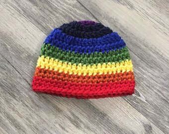 Baby Boy 0-3 Month Rainbow Baby Beanie - Made to Order