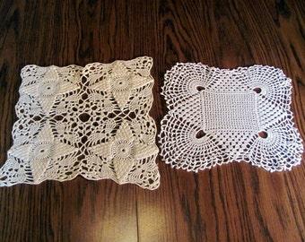Destash of 2 square Crocheted Doilies