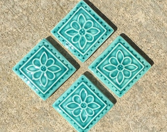 Ceramic Accent Tile -- Set of 4 Embroidered Clay Rosette 2x2 tile in Turquoise glaze, IN STOCK