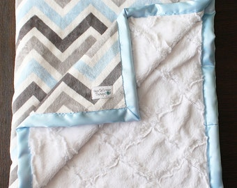 Minky Blanket, baby boy blanket, baby gift, Chevron Minky, Soft Blanket, blue and grey, Minky and Satin Binding many sizes and colors