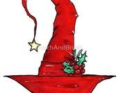 Befana's Hat - OOAK Original Italian Christmas Witch Illustration