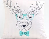 Large cushion cover featuring hipster deer image on cream background.