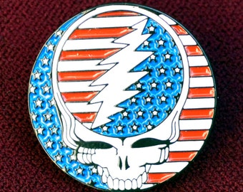 Vintage Grateful Dead Relix Steal Your Face American Flag Stealy Enamel Pin Uber Kuchi®