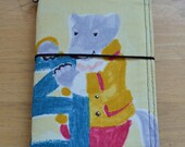 Big Bad Wolf, Little Red Ridding Hood Fabric Midori Inspired Traveler's Notebook in Field Notes Size holds inserts 3.5 x 5.5