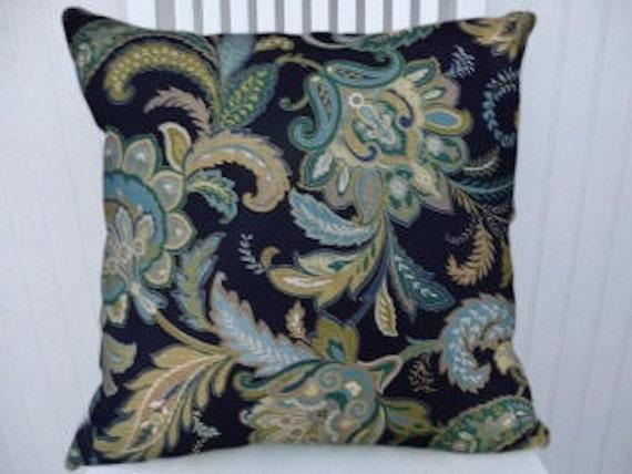Blue Throw Pillow 20x20 : Blue Green Beige Floral Decorative Throw Pillow-18x18 or 20x20