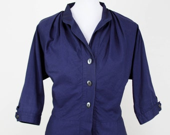 1950s Blouse // Navy Cotton Blouse by Fritzi of California