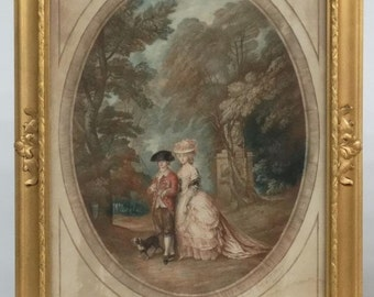 SALE Antique Mezzotint Etching by S. ARLENT EDWARDS Duke and Duchess of Cumberland Pencil Signed by Artist