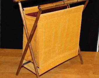 Vintage, Corduroy and Wood, Sewing Basket with Wood Frame, Magazine Rack, Holder