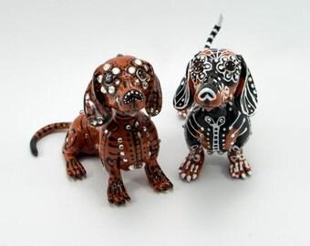 Skull Dachshund wedding handmade skull dogs collections cake topper