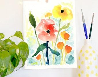 Wildflowers, Original Watercolor Painting, Landscape, Fine Art, Floral, Modern Art, Ink, Minimalist, Garden Floral, Abstract Art, Bohemian
