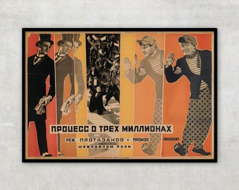 Vintage movie poster - The Three Million Case - by Georgy Stenberg, constructivism, russian poster, P100
