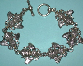 Vintage Sterling Silver 925 Large  BUMBLE BEE Link Bracelet Toggle Clasp 36.6g