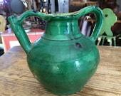 Antique French Glazed Green Pot Pitcher