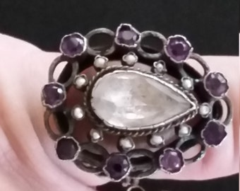 Sale Antique Georgian Sterling Silver Amethyst Paste Crystal Poison Ring size 6