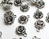 10 Rose flower charms antique silver 17x13mm PLF9318Y