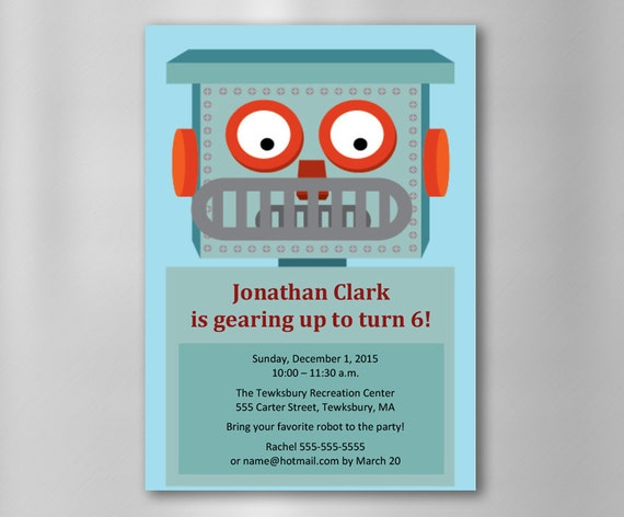 INSTANT DOWNLOAD Robot Birthday Invitation—Printable, Customizable ...