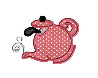 Teapot 3 Applique Machine Embroidery Design-INSTANT DOWNLOAD