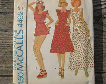 1975 mccalls pattern 4492  misses size 11 bust 34 misses  junior petite dress and shorts prairie girl