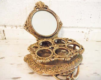Fancy lipstick caddy holder vanity accessory make up table decor victorian style vintage gold tone mirrored celeste