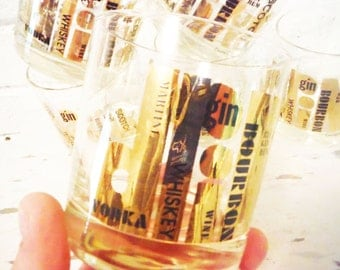 Couroc tumblers six on the rocks barware glasses gold leaf with black graphics modern bar retro vintage 1960's bourbon
