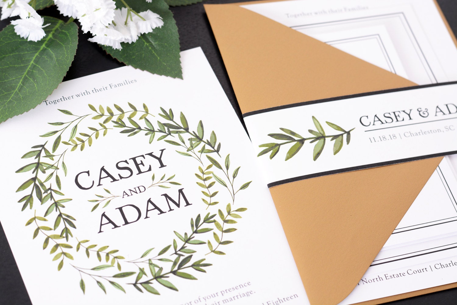 How To Start A Wedding Invitation: Wedding Invitations DEPOSIT TO START True Greenery Suite