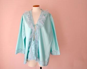 Plus Size Vintage Romantic Lingerie. Ruffly Aqua Satin Bed Jacket. Plus Size  3X 4X + VL378