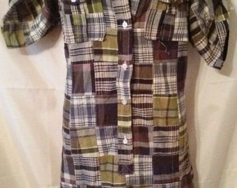 "LABOR DAY SALE Cool 80s Vintage Preppy School Casual Fall Shirtdress-Madras Patchwork Day Dress-44"" Bust-Carol Little-Size 12-Medium"