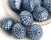 Puffy bicone beads, Dark Blue Silver inlays, czech glass, silver wash - 10x8mm - 12Pc - 2646