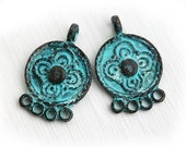 Earring connectors, Chandelier, Verdigris Patina, Round charms with loop, greek metal casting, flower ornament - 2Pc - F382