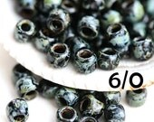 Picasso TOHO Seed beads, size 6/0, Jet Black, Y302, black seed beads, hybrid, rocailles - 6g - S758