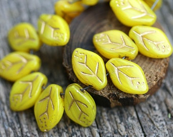 12x7mm Yellow Leaf beads, Golden Inlays, Czech glass pressed leaves, top drilled - 25Pc - 1077
