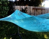 Baby blue,Mayan hammock,Double size, Hand woven Mexican hammock, 100% cotton string