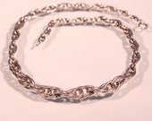 Vintage Art Deco Sterling  Necklace Twisted Chain 1930s French Art Deco Jewelry Stamped