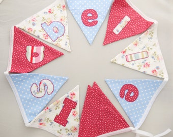 Letter Bunting name girls Personalised Gift Nursery bedroom named christening naming birthday party decoration