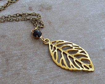 Gold Leaf Necklace .. leaf necklace, simple necklace, gold necklace