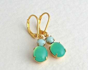 Green Opal Earrings .. opal earrings, mint green, apple green, two stone earrings