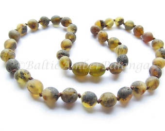 Baltic Amber Teething Necklace, Raw Unpolished Green Beads
