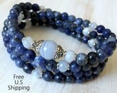 108 mala, Blue Lace Agate, Sodalite, Mala Bracelet or Necklace, Reiki Mala, Buddhist Rosary, Prayer beads,