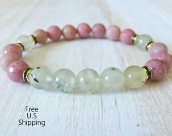 Yoga bracelet, Prehnite, Rhodonite Meditation bracelet, Reiki, quartz bracelet, wrist mala, energy bracelet, healing bracelet, mala bracelet