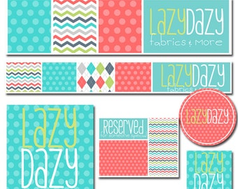 Premade Shop Set with  2 Banners // Additional Graphics // Sticker for Small Crafty Boutiques Multi Color and Pattern Set