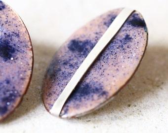 Oversized earrings, Big oval earrings, enamel stud earrings, purple and dark blue enamel on copper with sterling silver setting